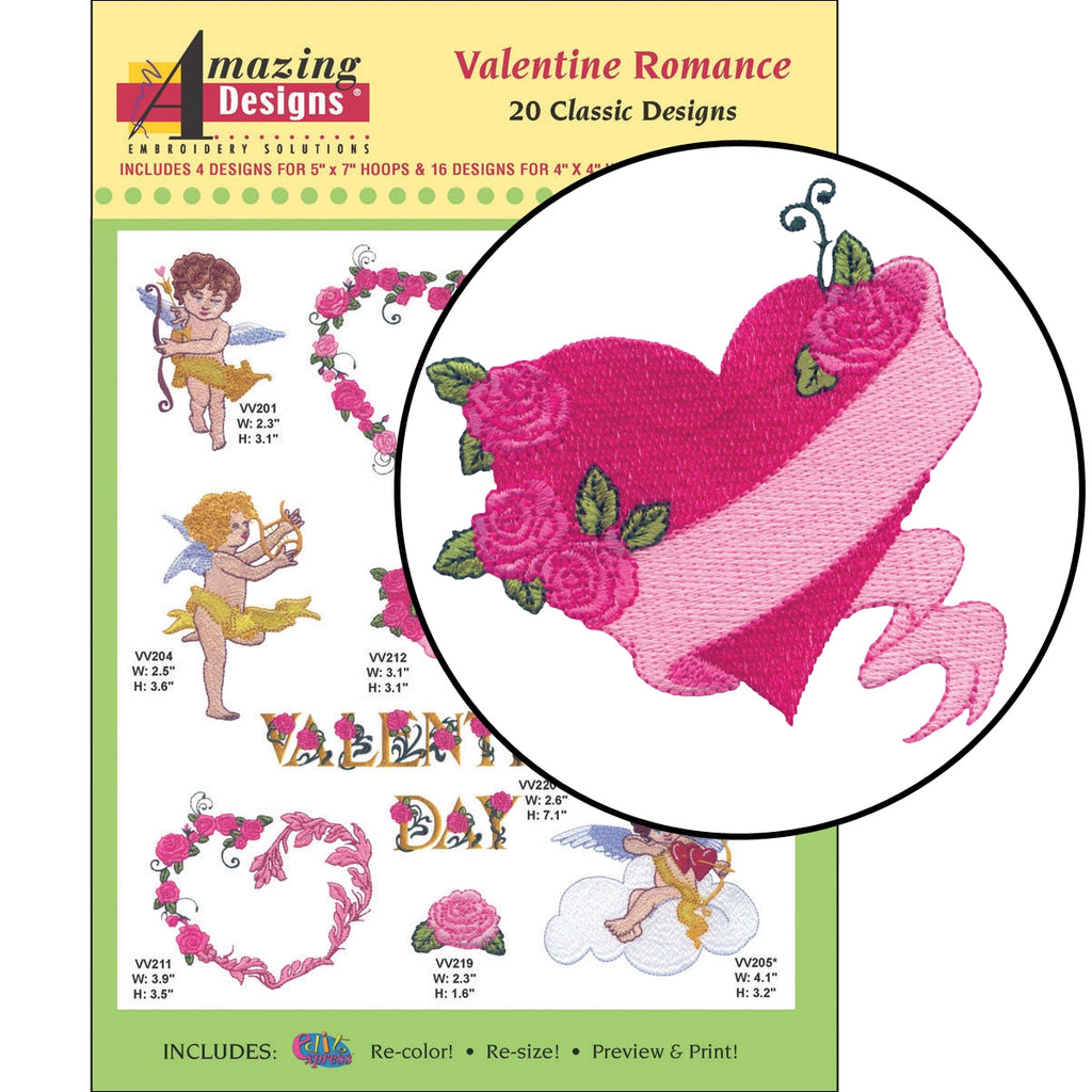 Valentine Romance Embroidery Designs CD