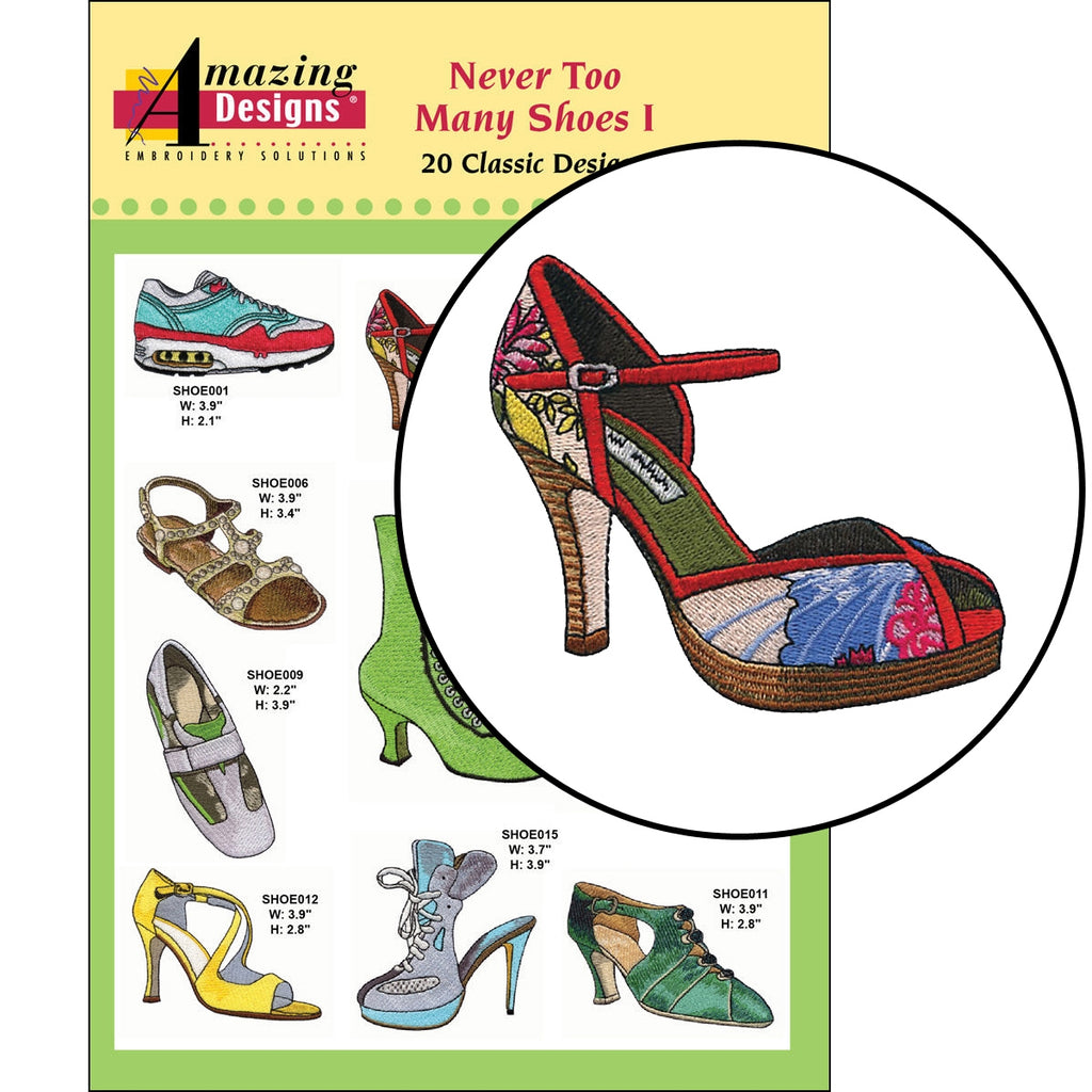 Never Too Many Shoes I Embroidery Designs CD