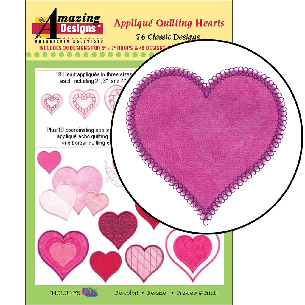 Applique Quilting Hearts Embroidery Designs CD