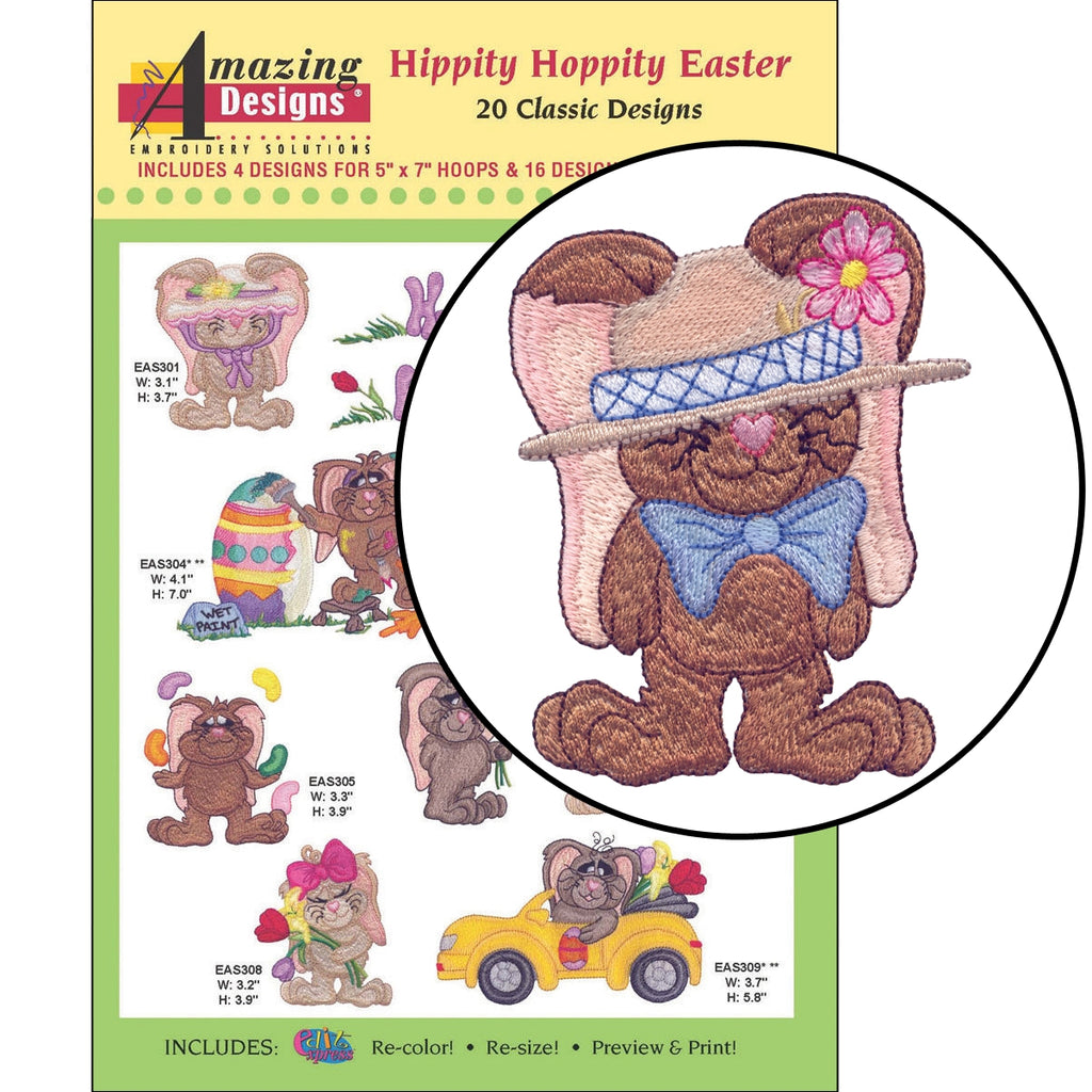 Hippity Hoppity Easter Embroidery Designs CD