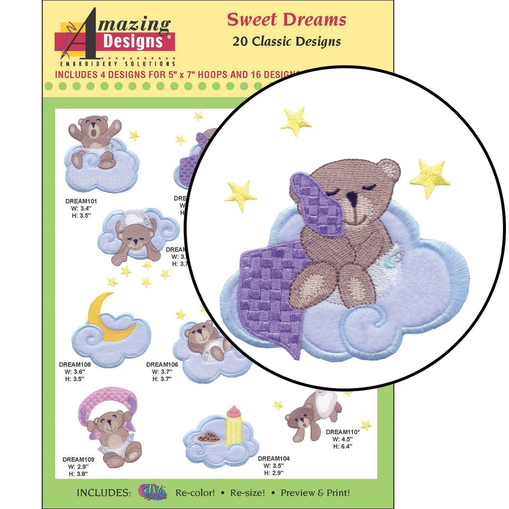 Sweet Dreams Embroidery Designs CD
