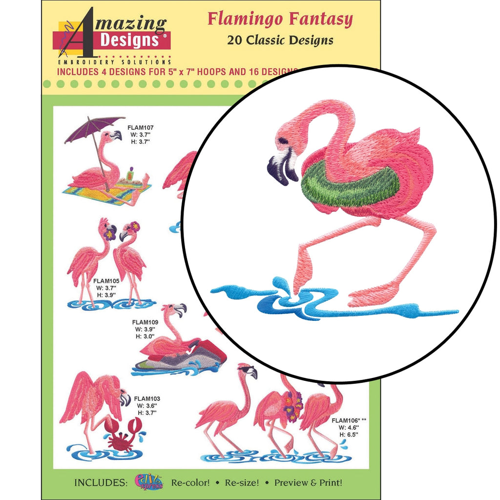 Flamingo Fantasy Embroidery Designs CD