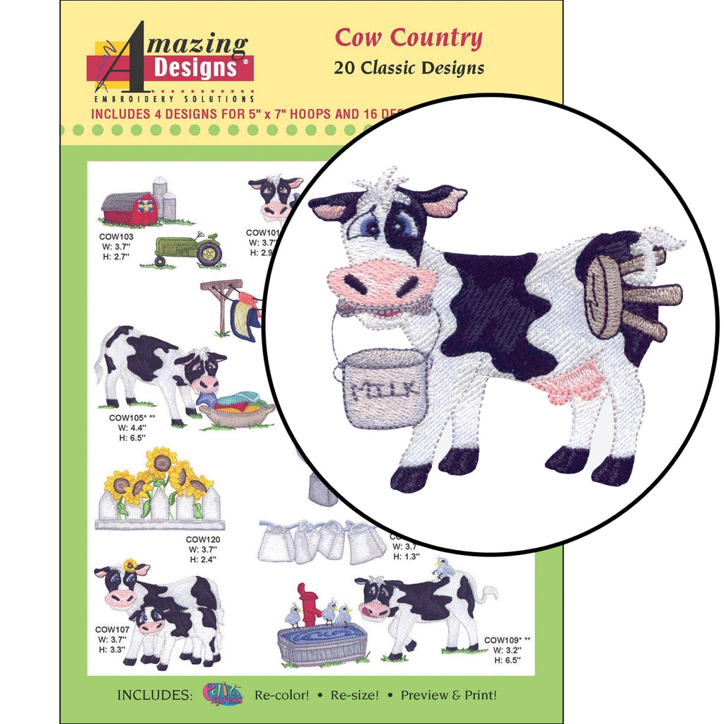 Cow Country Embroidery Designs CD