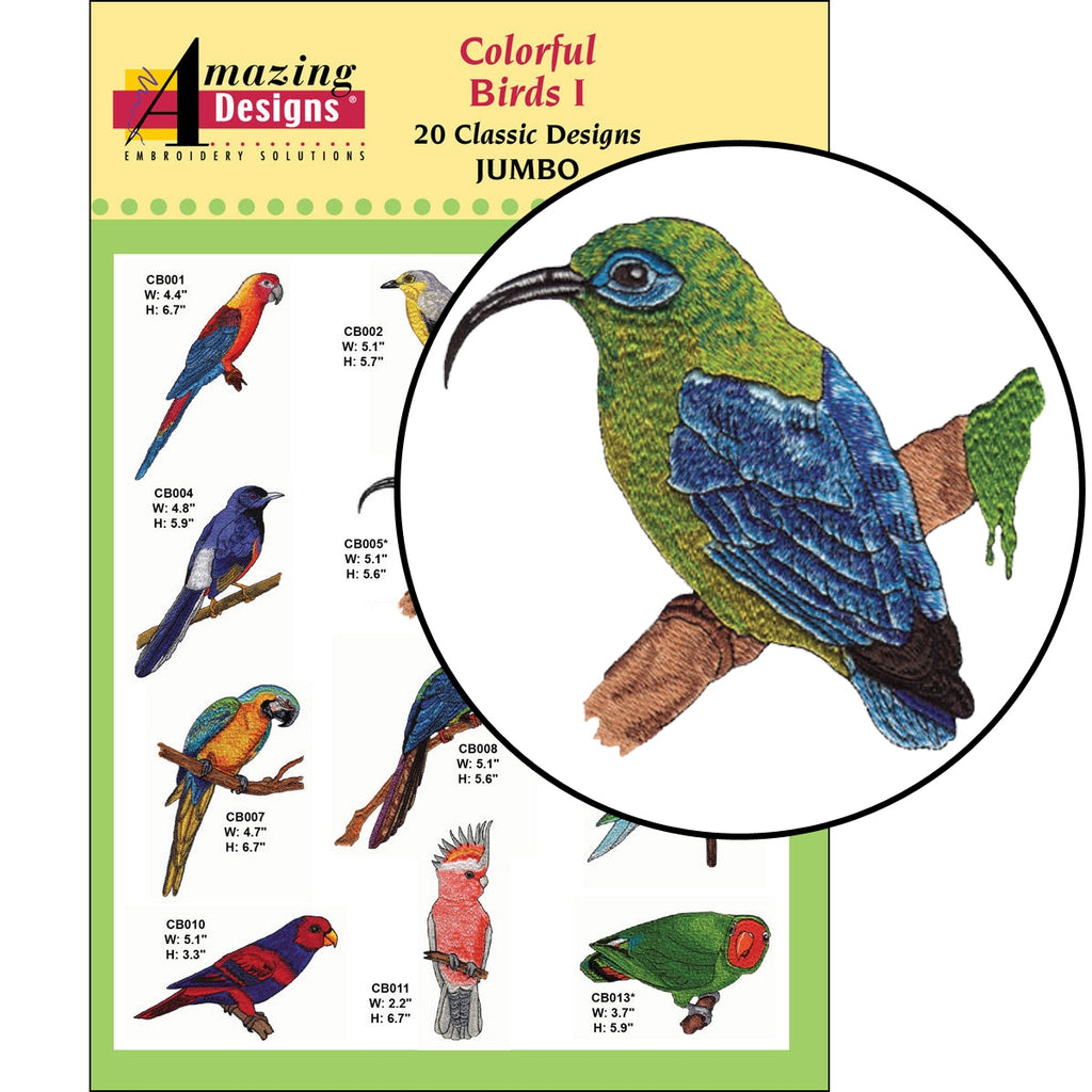 Colorful Birds I Embroidery Designs CD