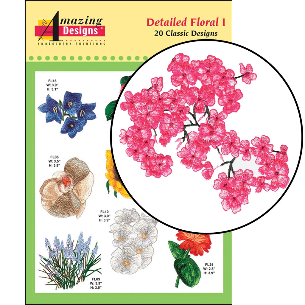Detailed Floral I Embroidery Designs CD