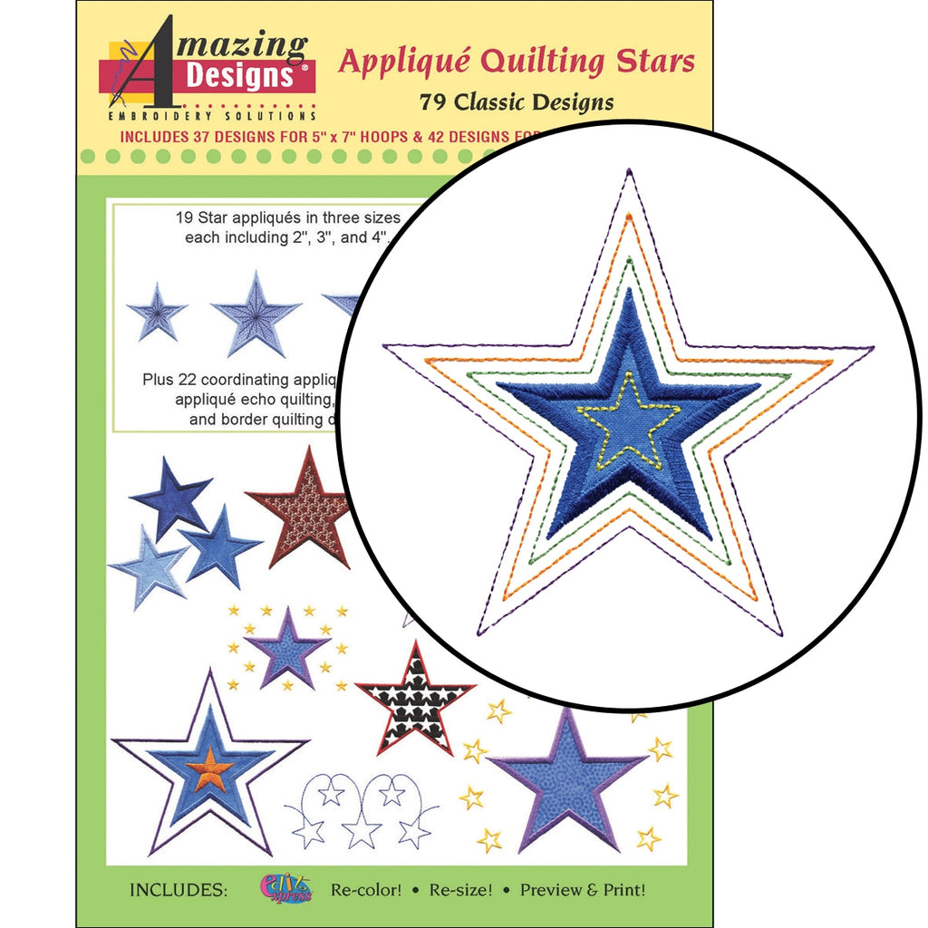 Applique Quilting Stars Embroidery Designs CD
