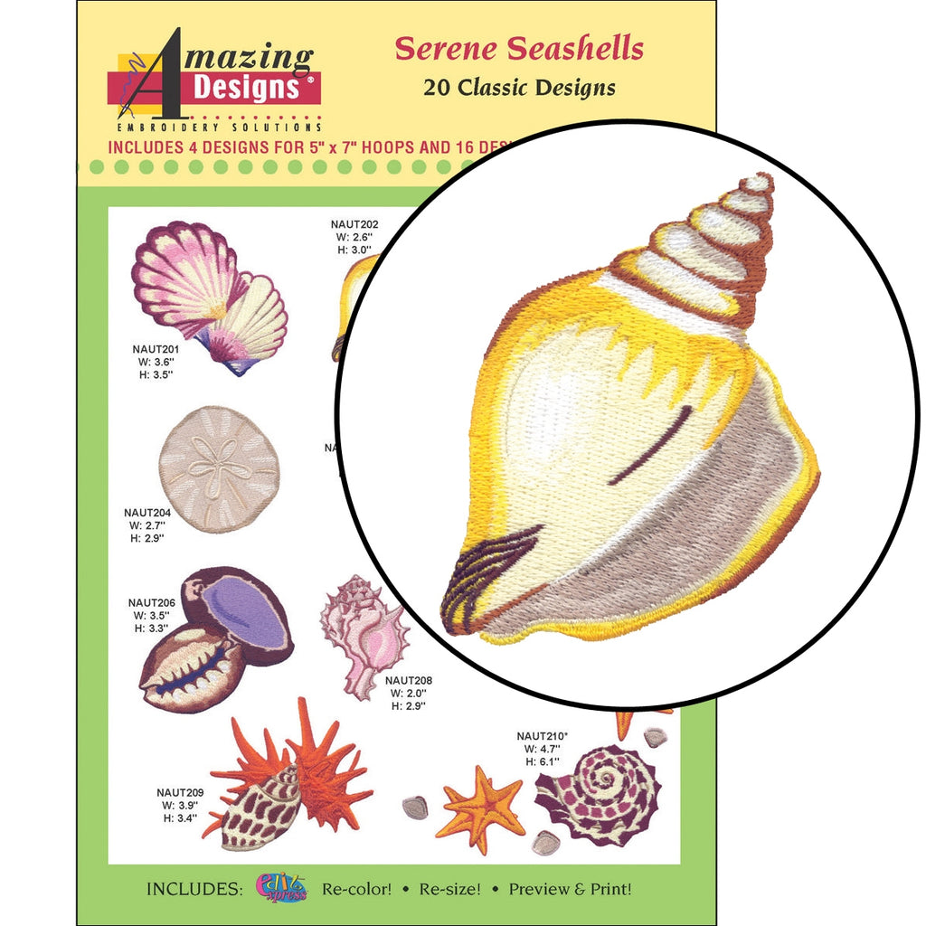 Serene Seashells Embroidery Designs CD
