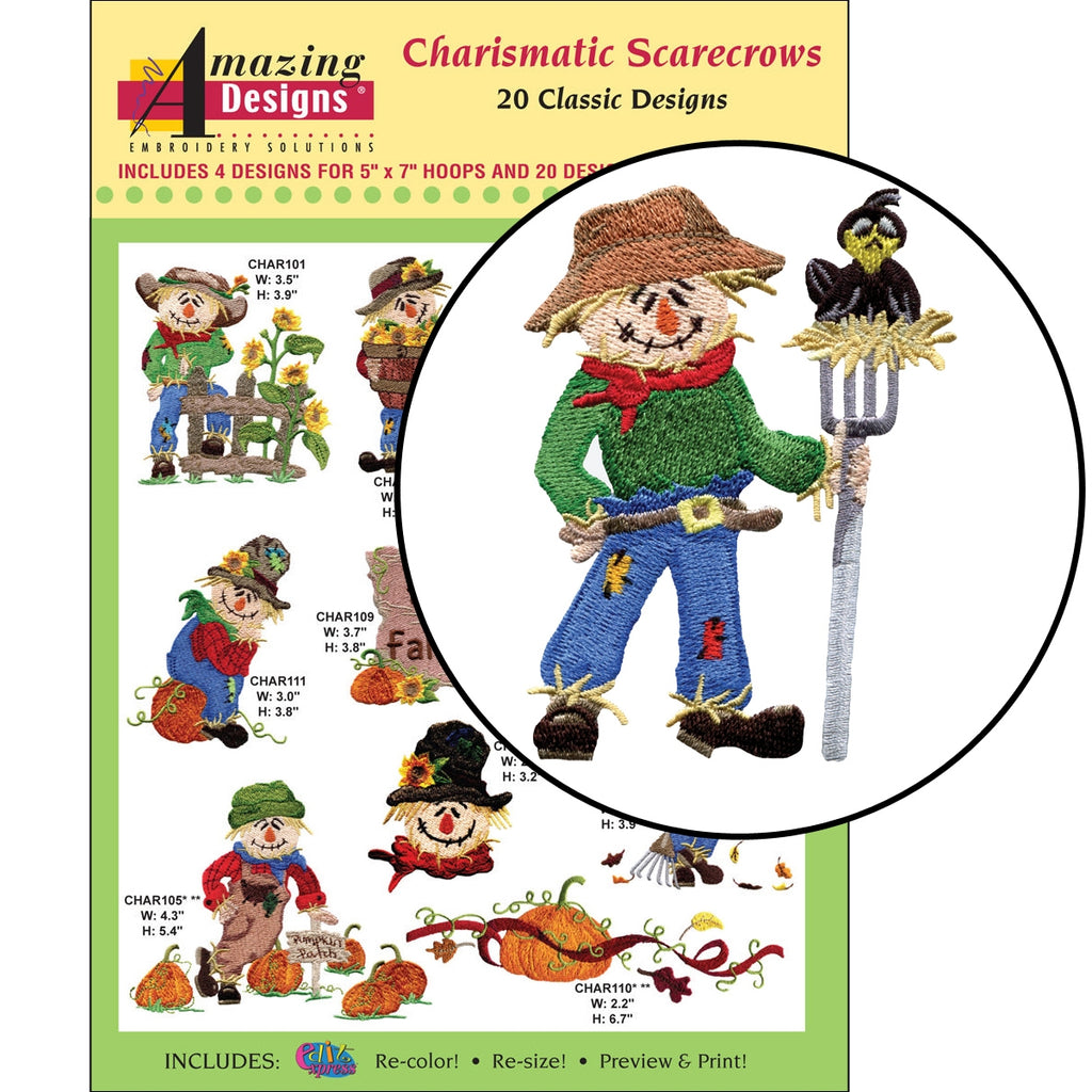 Charismatic Scarecrows Embroidery Designs CD