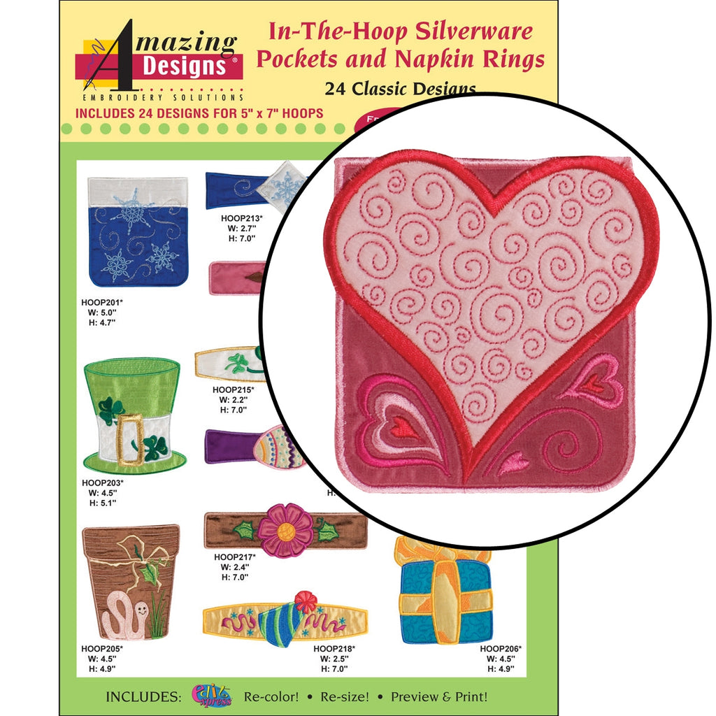 In-The-Hoop Silverware Pockets and Napkin Rings Embroidery Designs CD