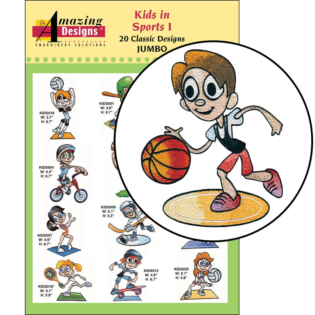 Kids in Sports I Embroidery Designs CD