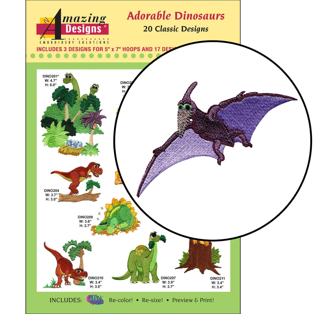 Adorable Dinosaurs Embroidery Designs CD