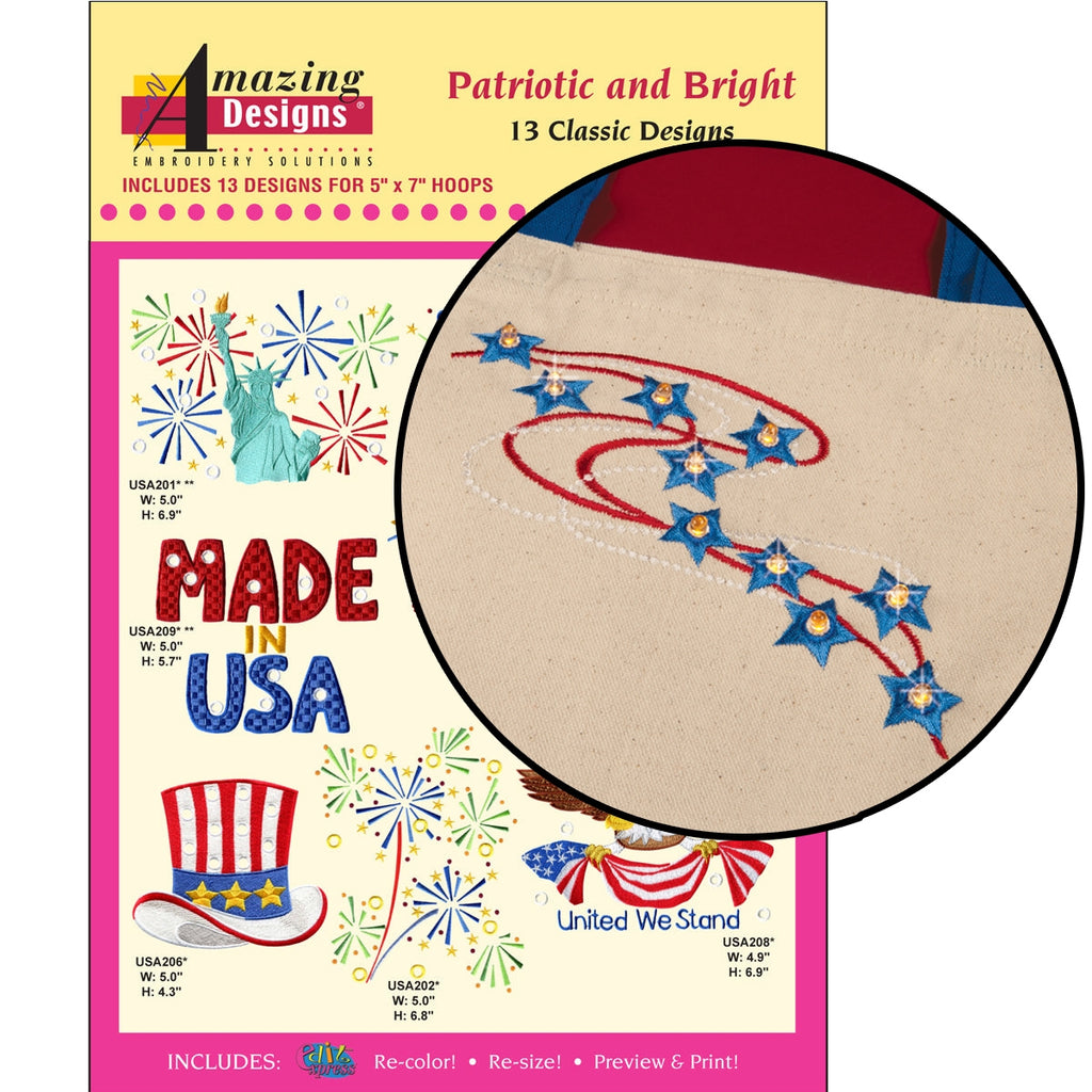 Patriotic and Bright Embroidery Designs CD