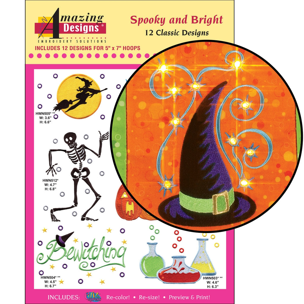Spooky and Bright Embroidery Designs CD