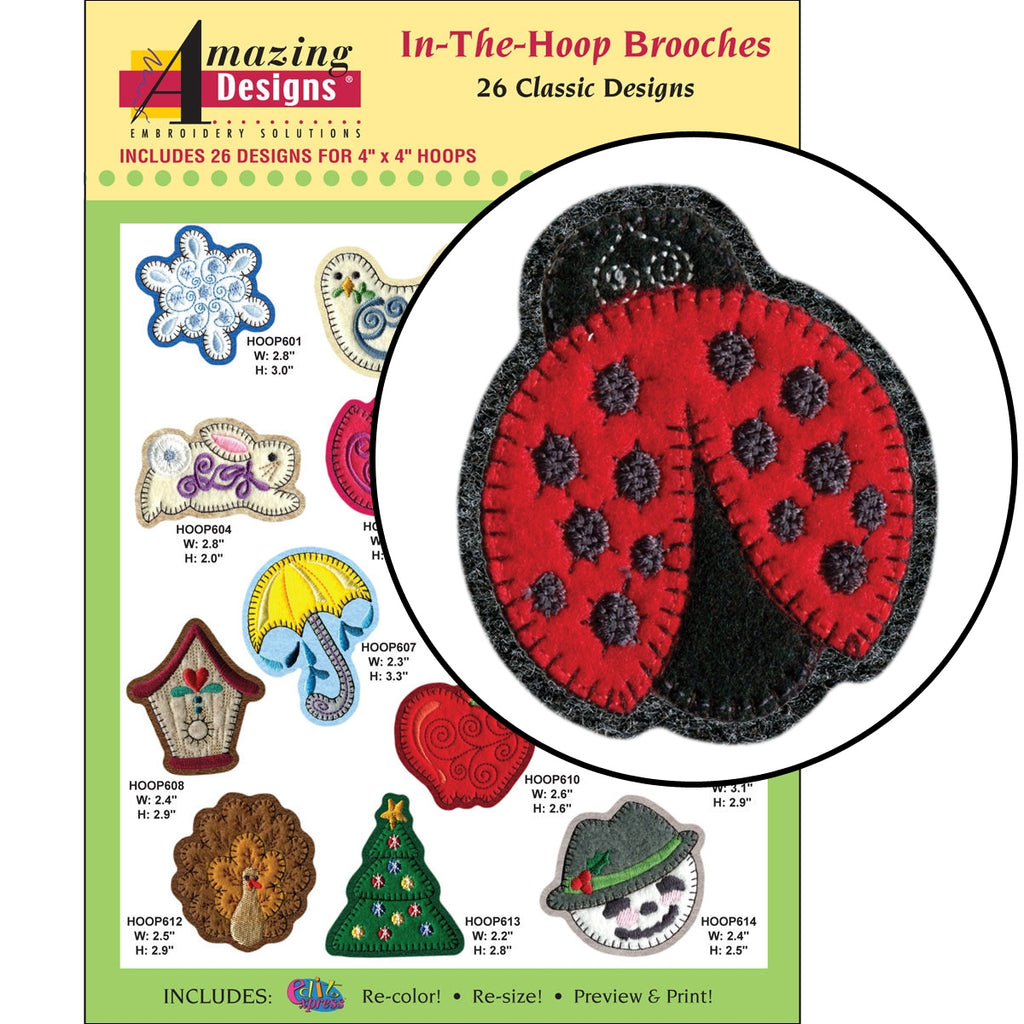 In-the-Hoop Brooches Embroidery Designs CD