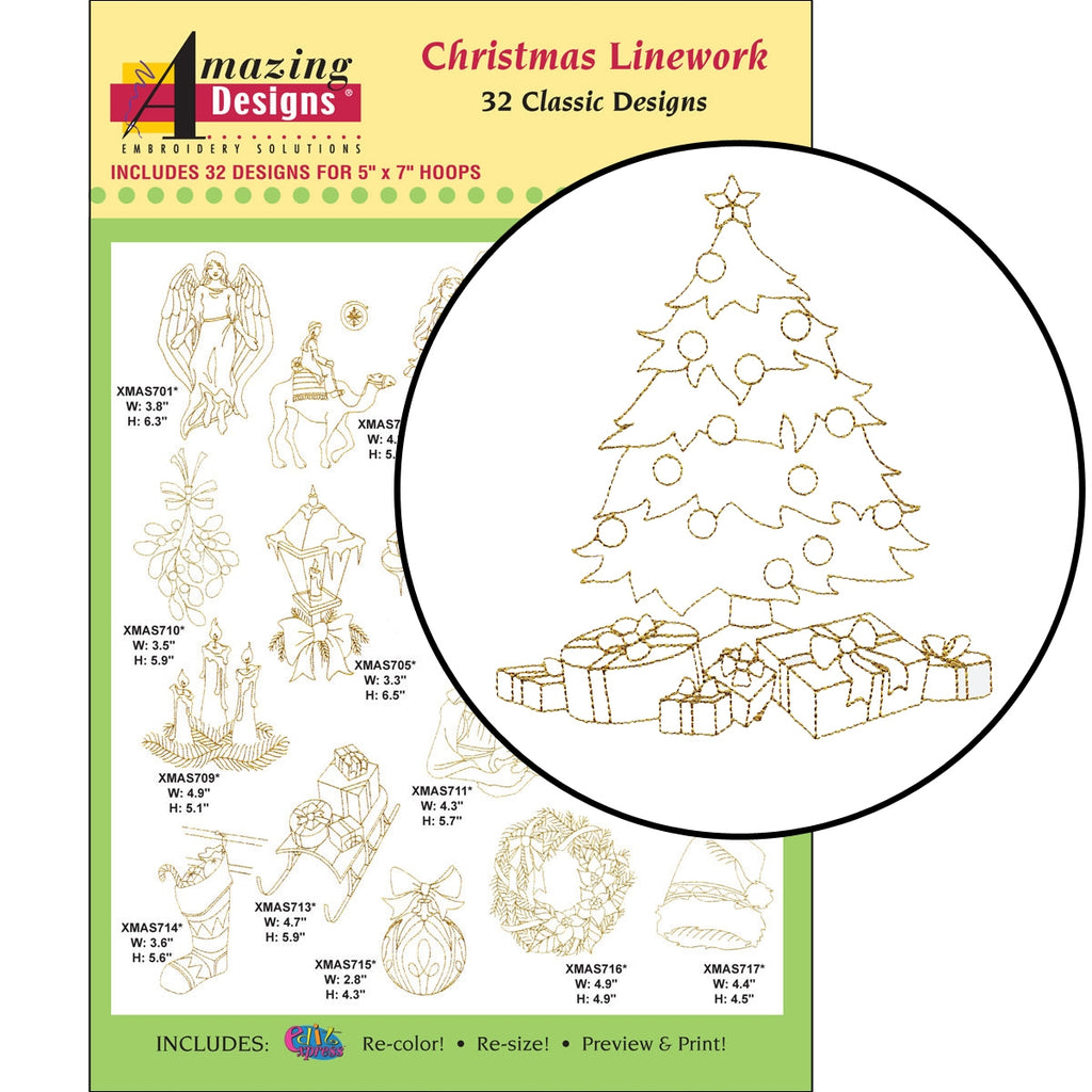 Amazing Designs Christmas Linework Embroidery Designs