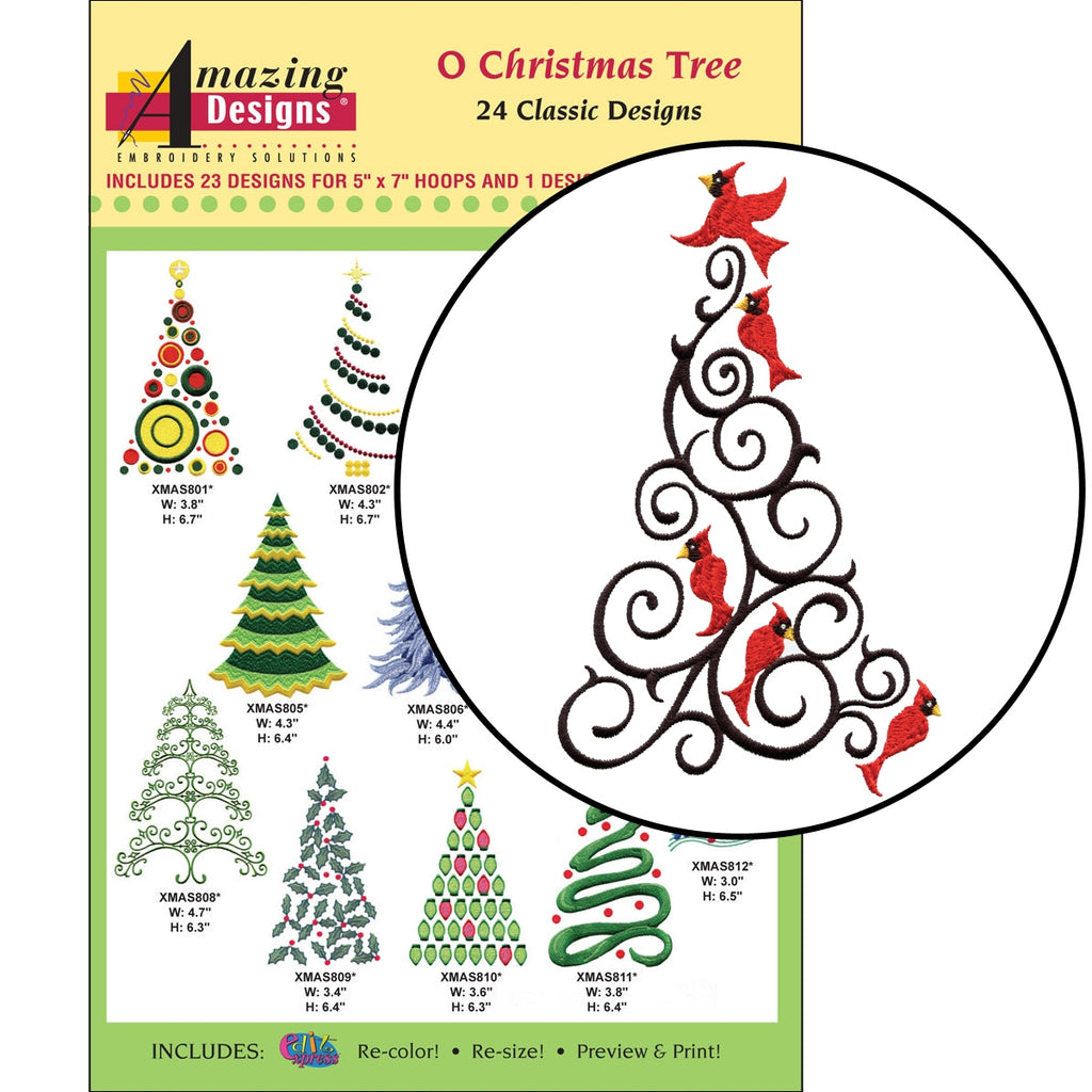 O Christmas Tree Embroidery Designs CD