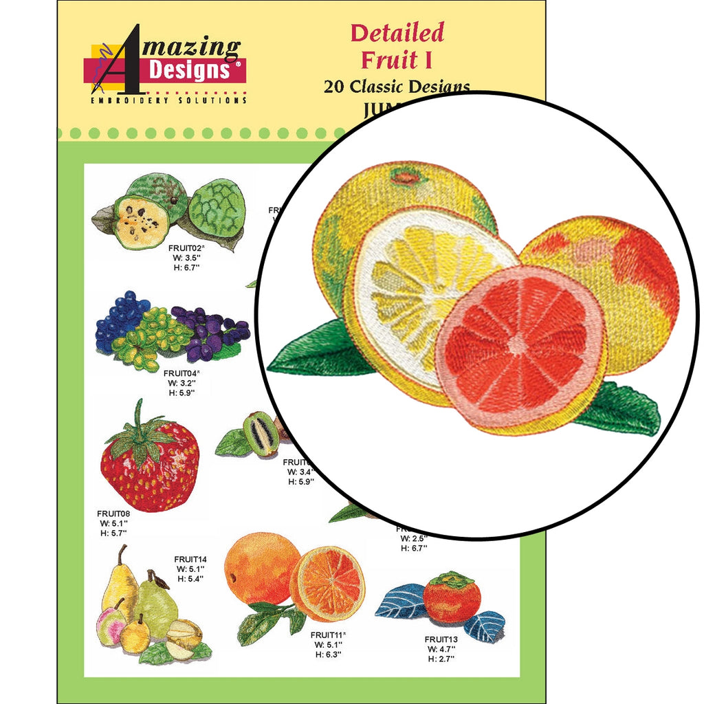 Detailed Fruit I Embroidery Designs CD