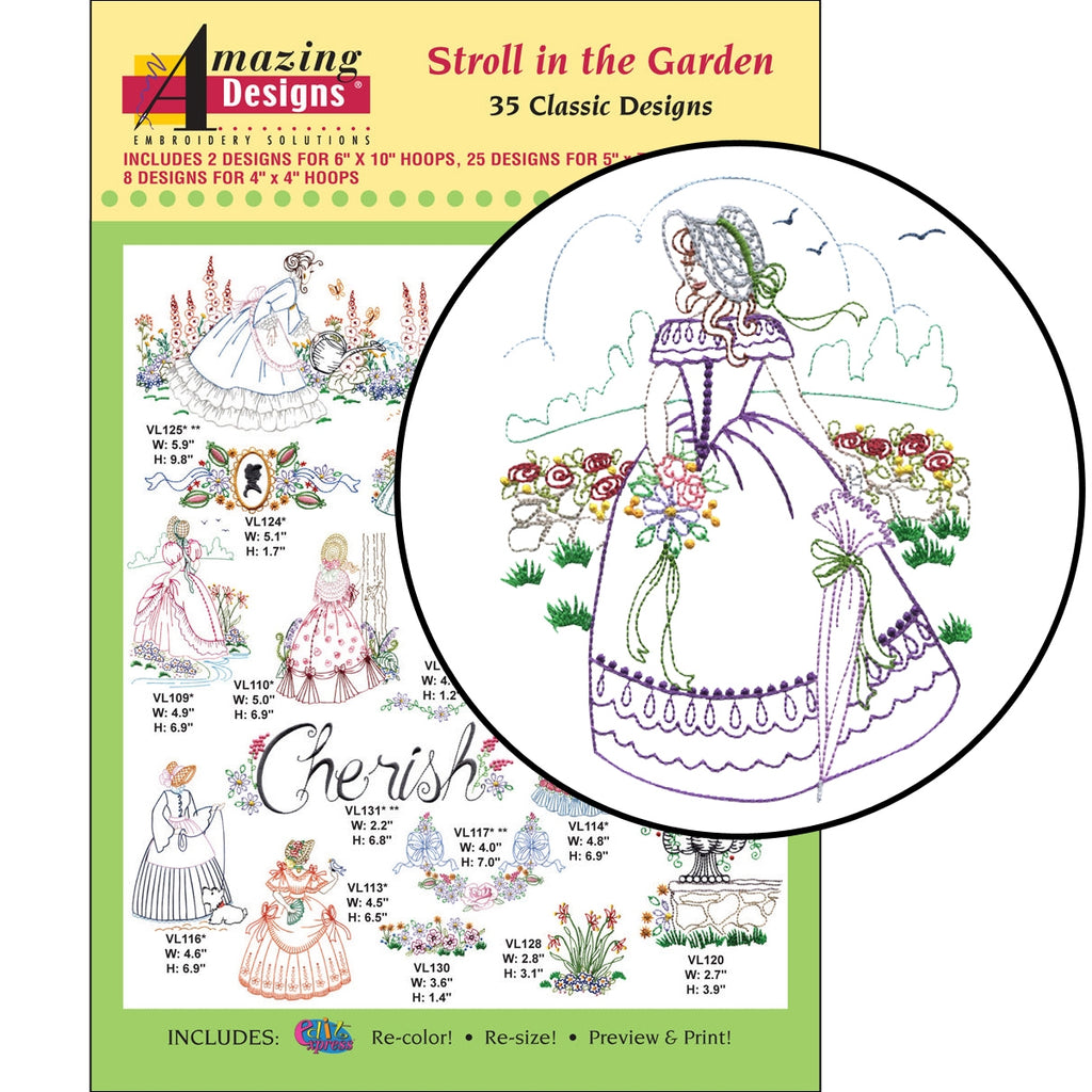 Stroll in the Garden Embroidery Designs