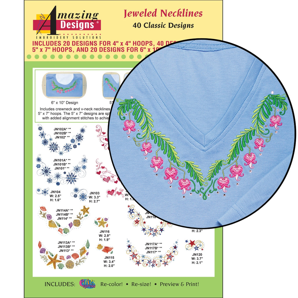 Jeweled Necklines Embroidery Designs CD