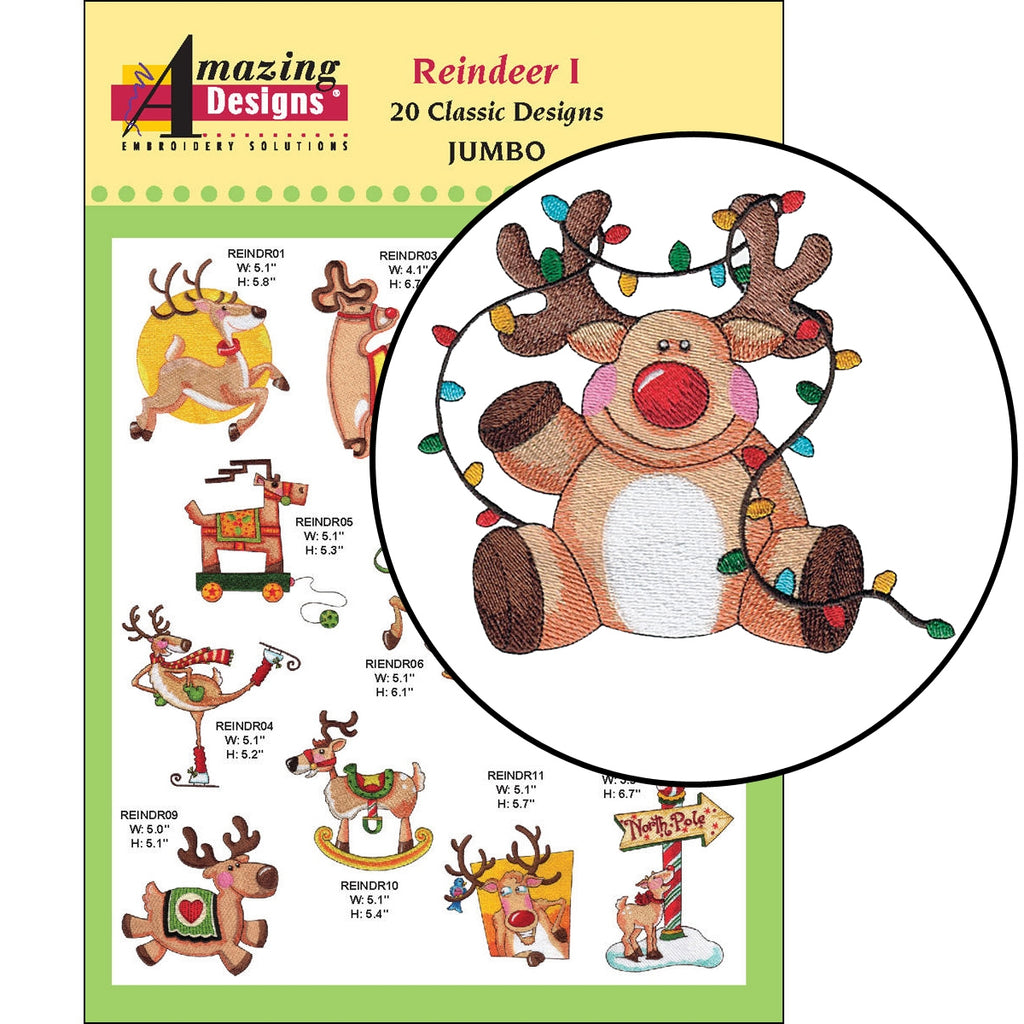 Reindeer I Embroidery Designs CD
