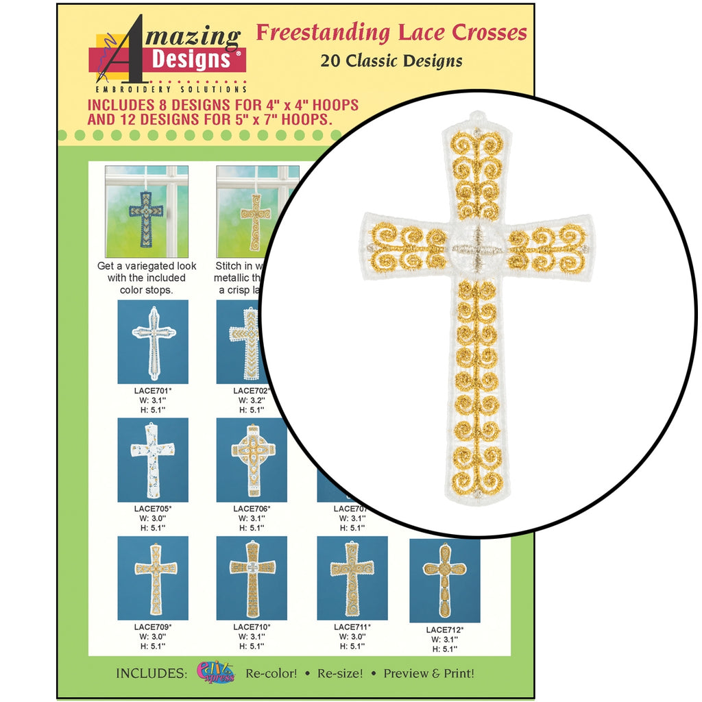 Freestanding Lace Crosses Embroidery Designs CD