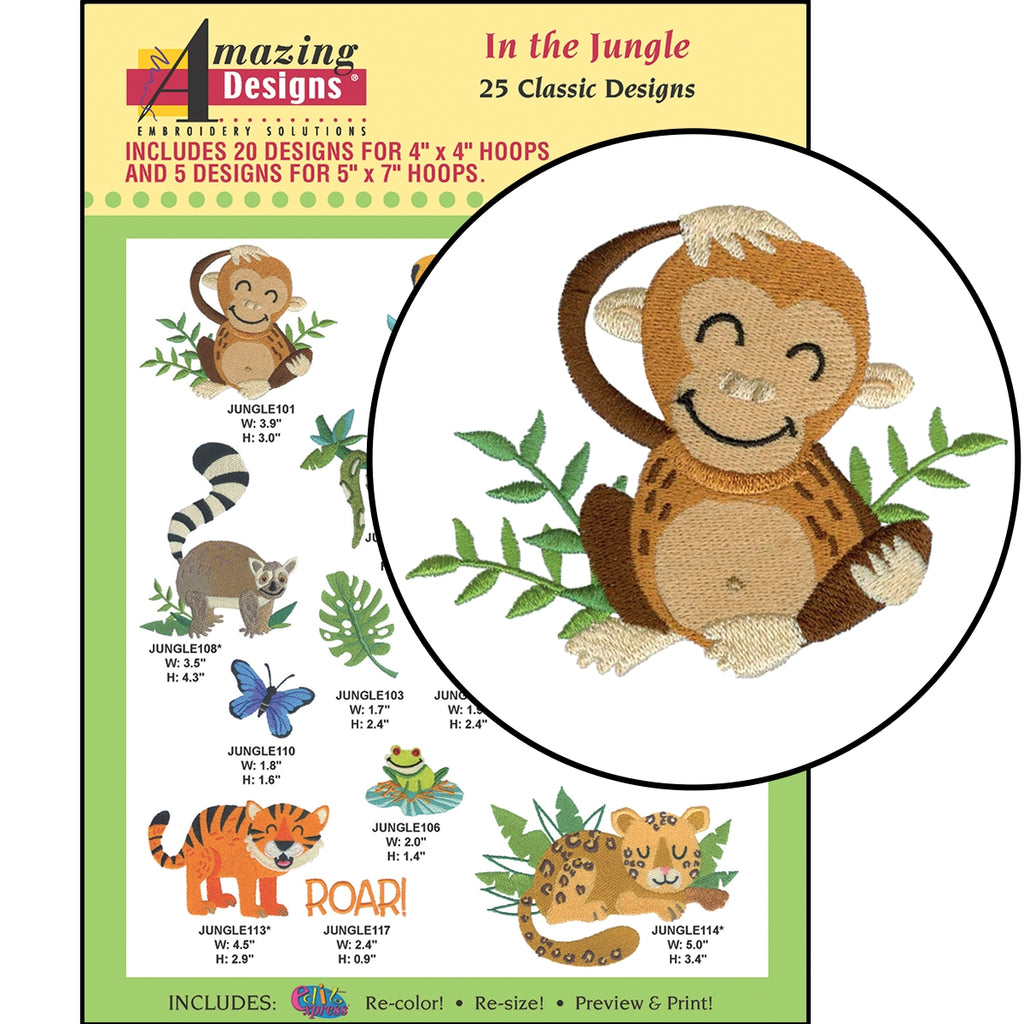 In the Jungle Embroidery Designs CD