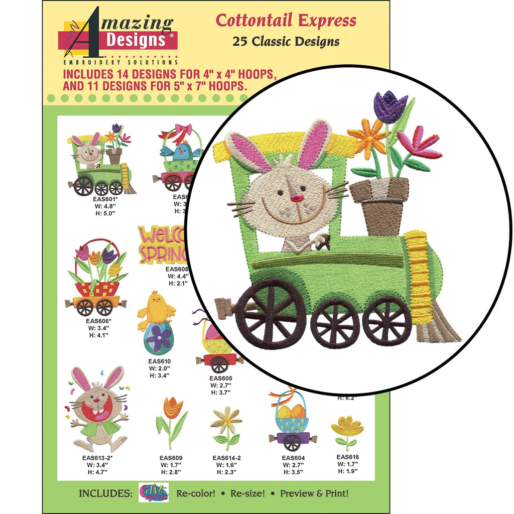 CD: COTTONTAIL EXPRESS EMBROIDERY DESIGNS