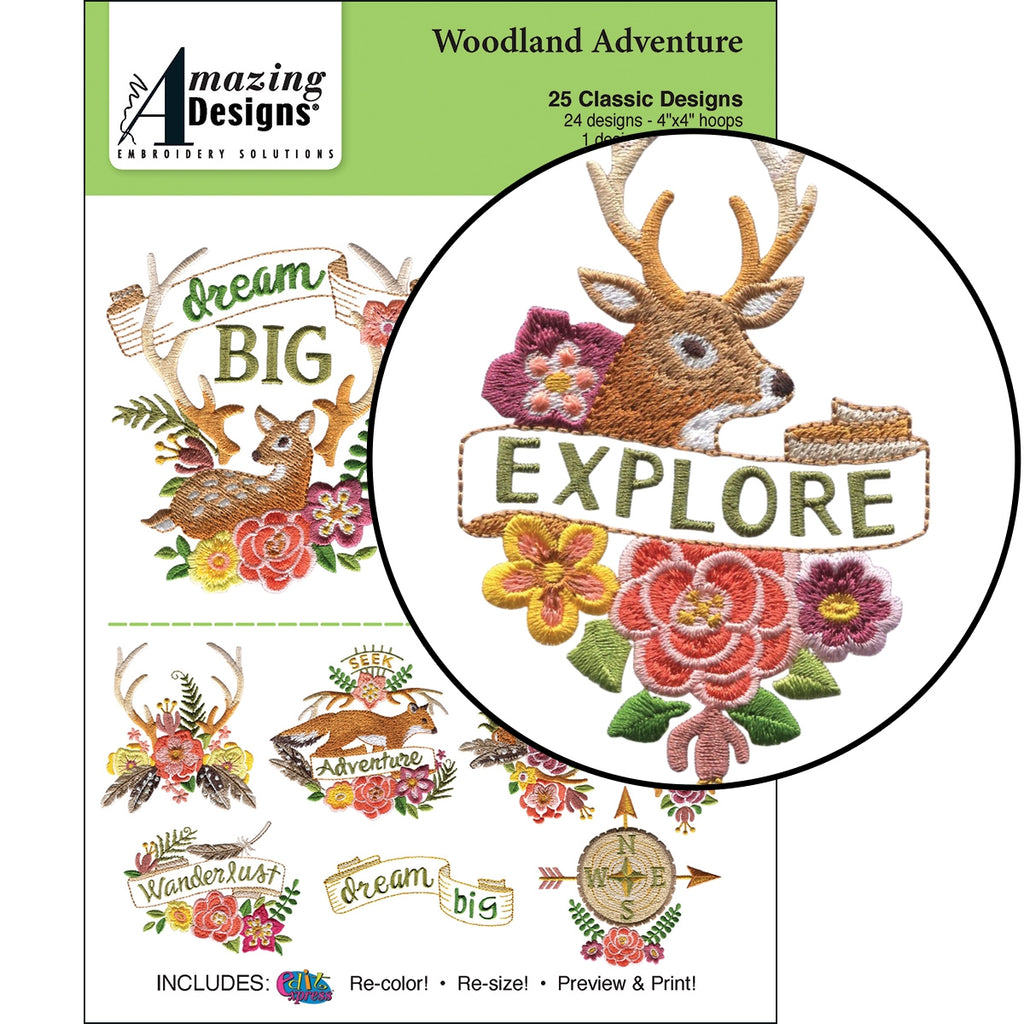 CD: WOODLAND ADVENTURE EMBROIDERY DESIGNS