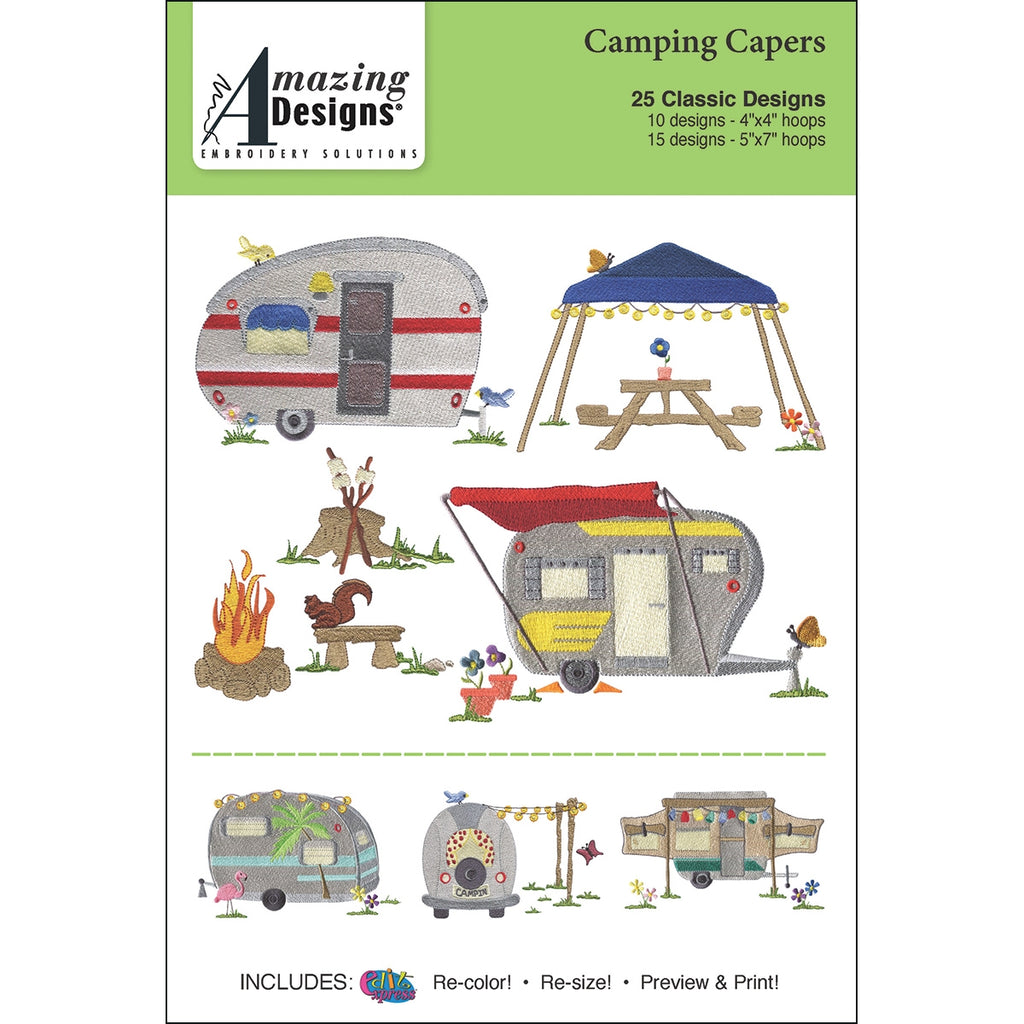 Camping Capers Embroidery Designs