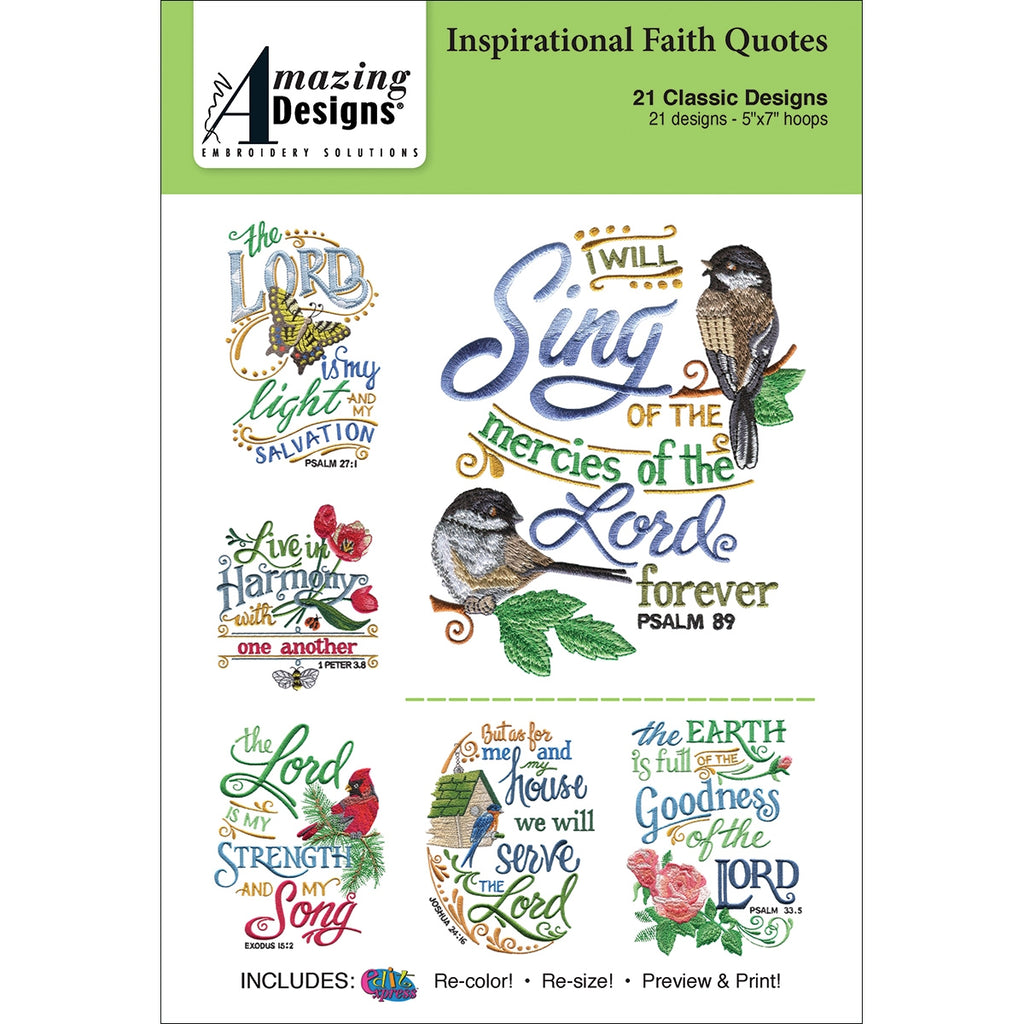 Inspirational Faith Quotes Embroidery Designs CD
