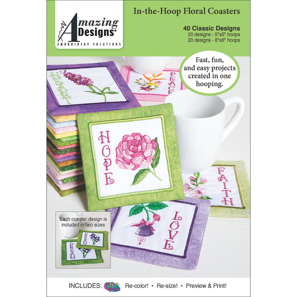 In-the-Hoop Floral Coasters Embroidery Designs CD