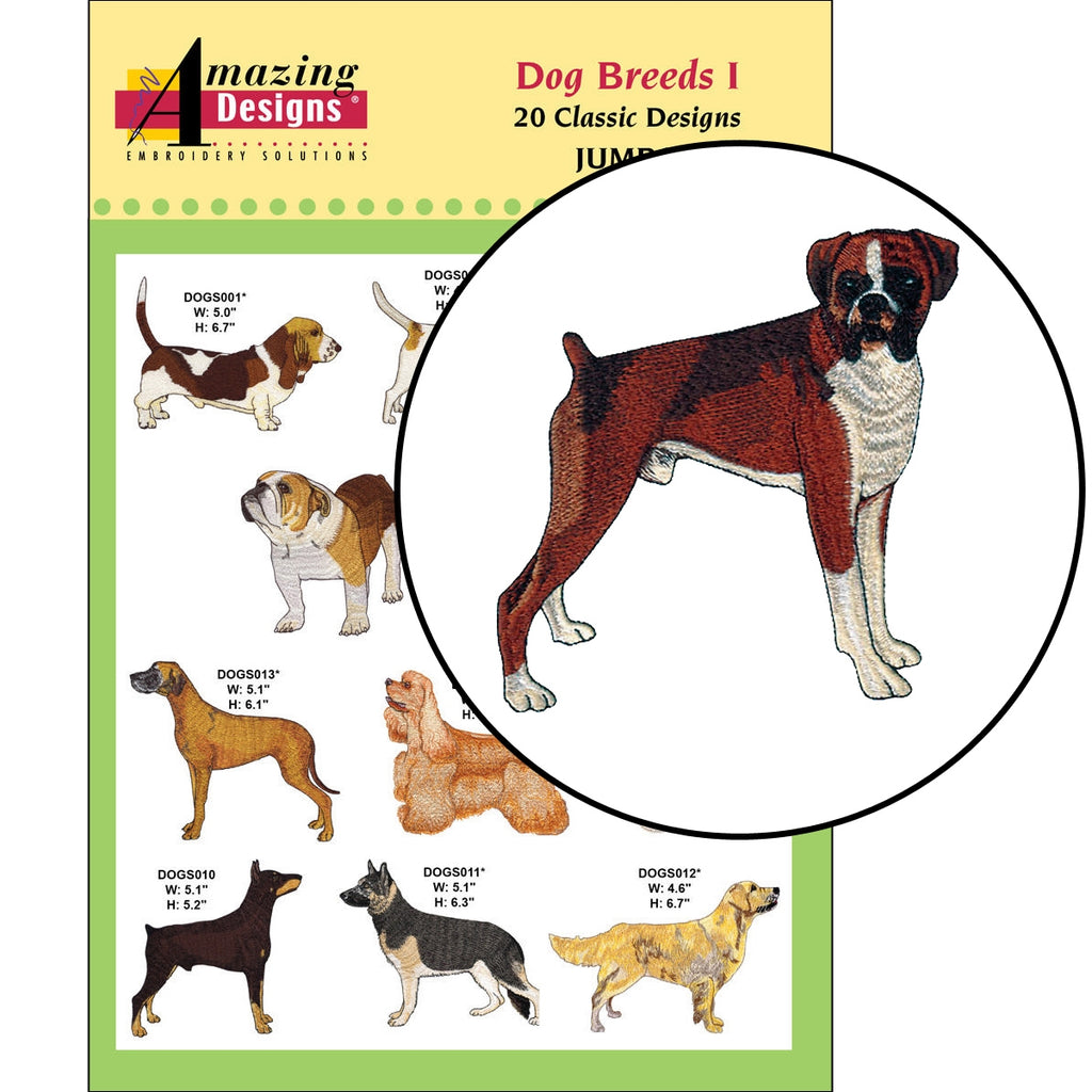 Jumbo Dog Breeds I Embroidery Designs CD