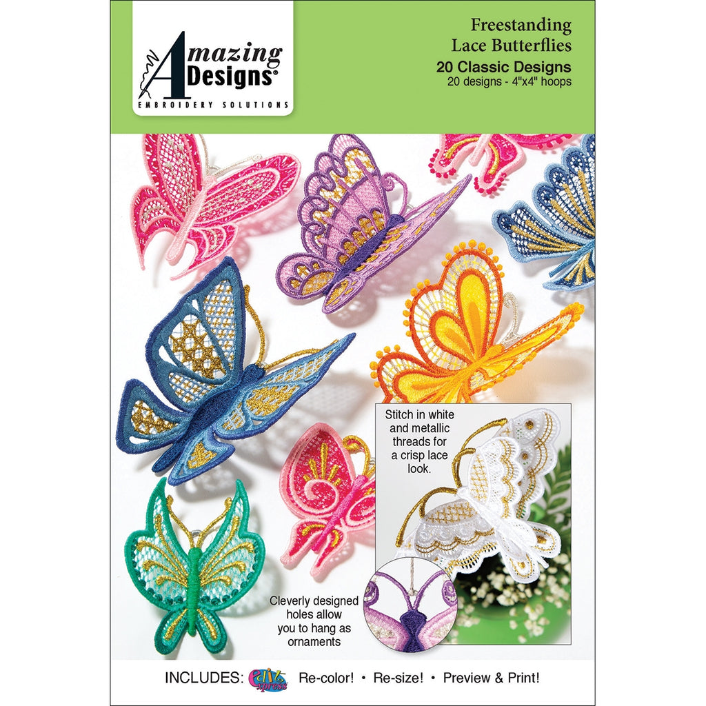 Freestanding Lace Butterflies Embroidery Designs CD