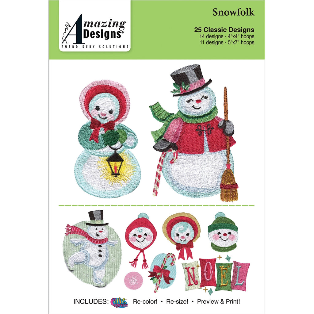Snowfolk Embroidery Designs CD