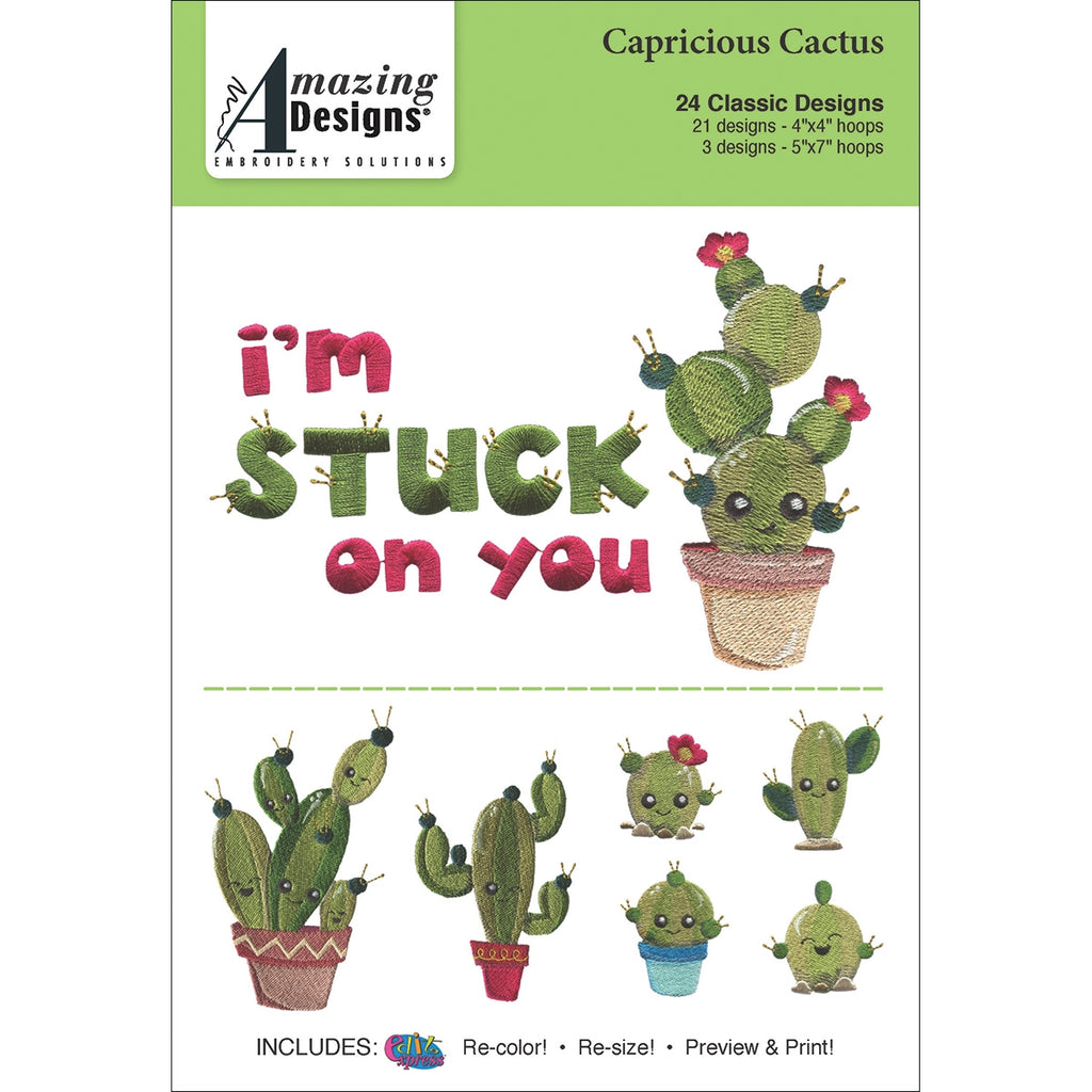Amazing Designs Capricious Cactus Embroidery Designs CD