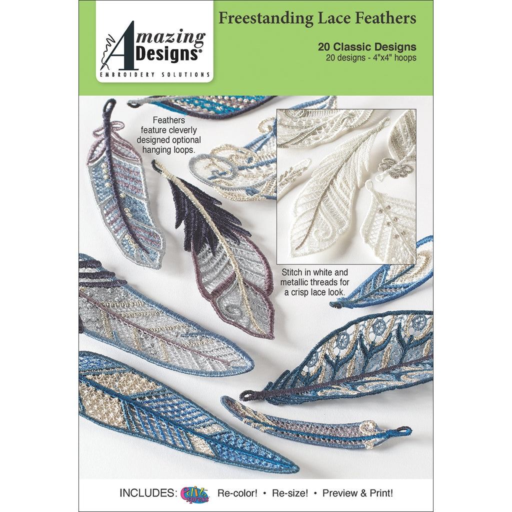 Amazing Designs Freestanding Lace Feathers Embroidery Designs CD