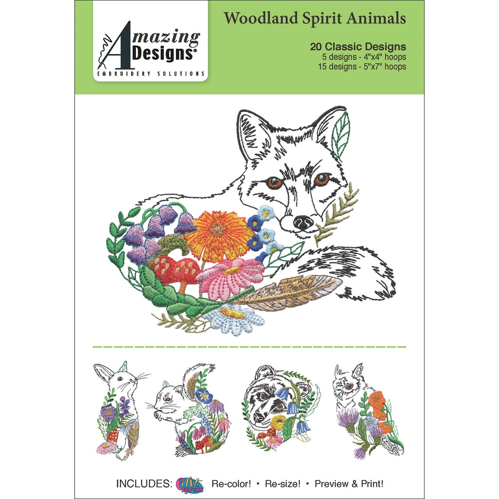 Amazing Designs Woodland Spirit Animals Embroidery Designs CD