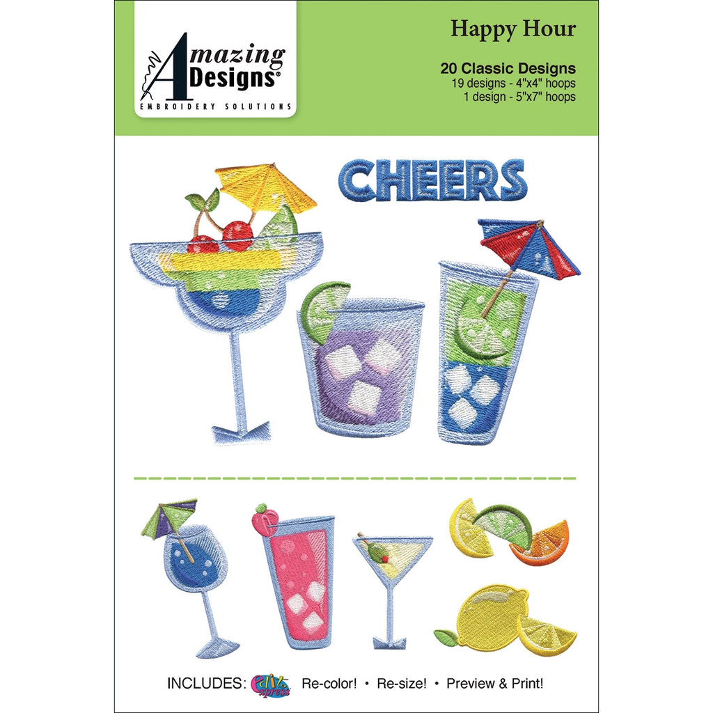 Amazing Designs Happy Hour Embroidery Designs CD