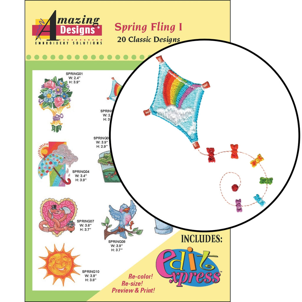 Spring Fling I Embroidery Designs CD