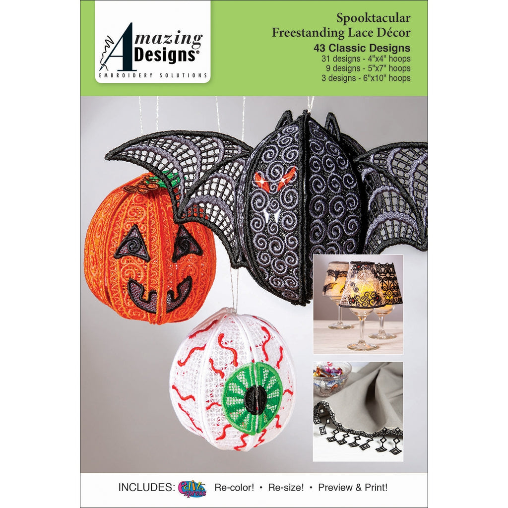 Amazing Designs Spooktacular Freestanding Lace Decor Embroidery Designs CD