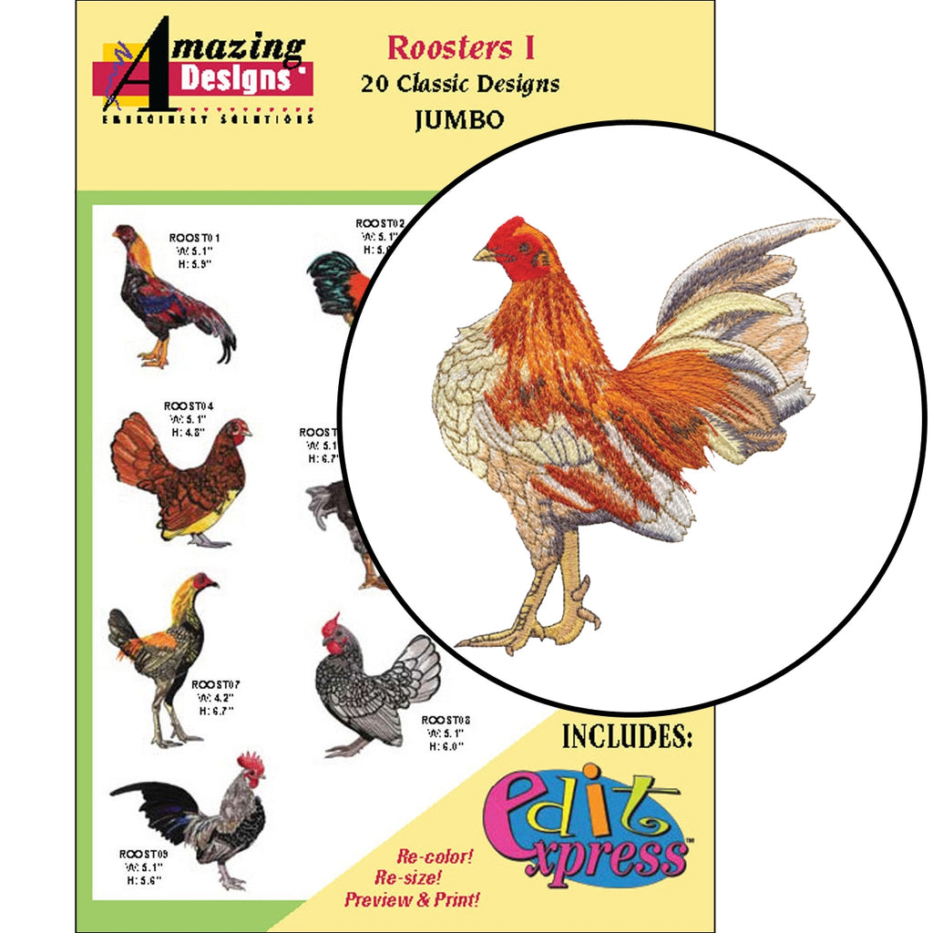 Roosters I Embroidery Designs CD