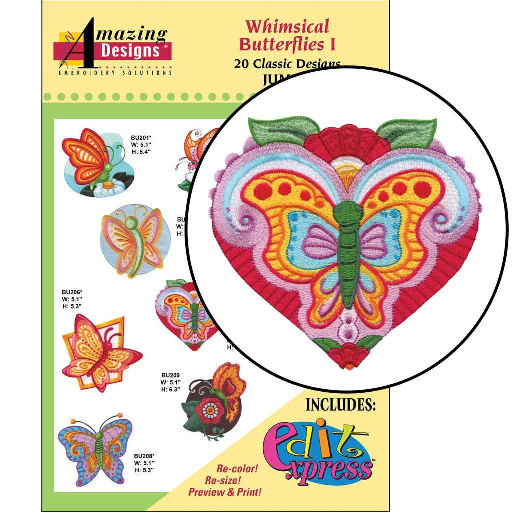 Whimsical Butterflies I Embroidery Designs CD