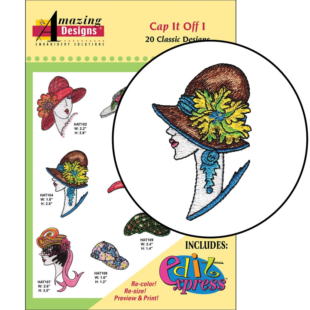 Cap It Off Embroidery Designs CD