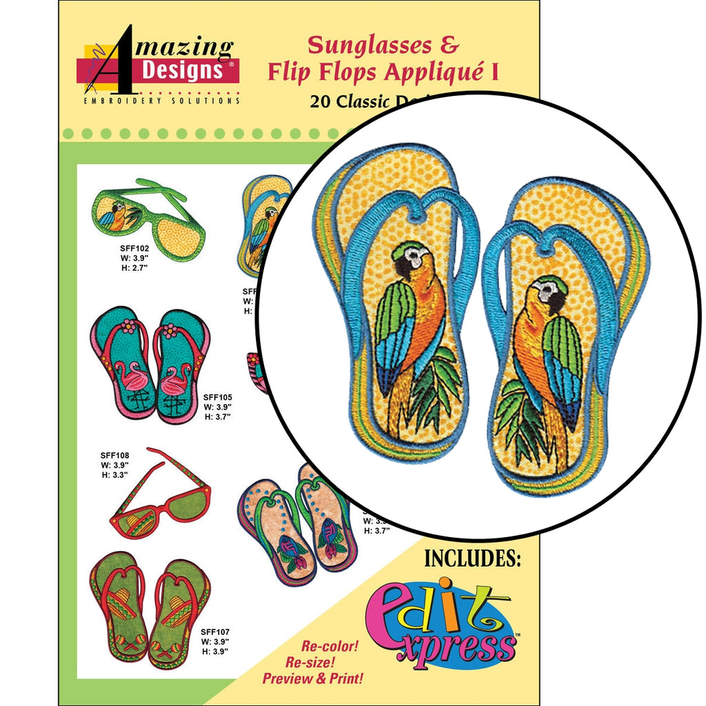 Sunglasses and Flip Flops I Embroidery Designs CD