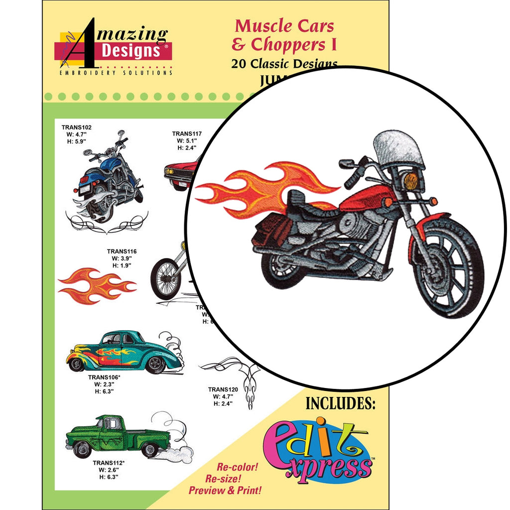 Muscle Cars and Choppers I Embroidery Designs CD