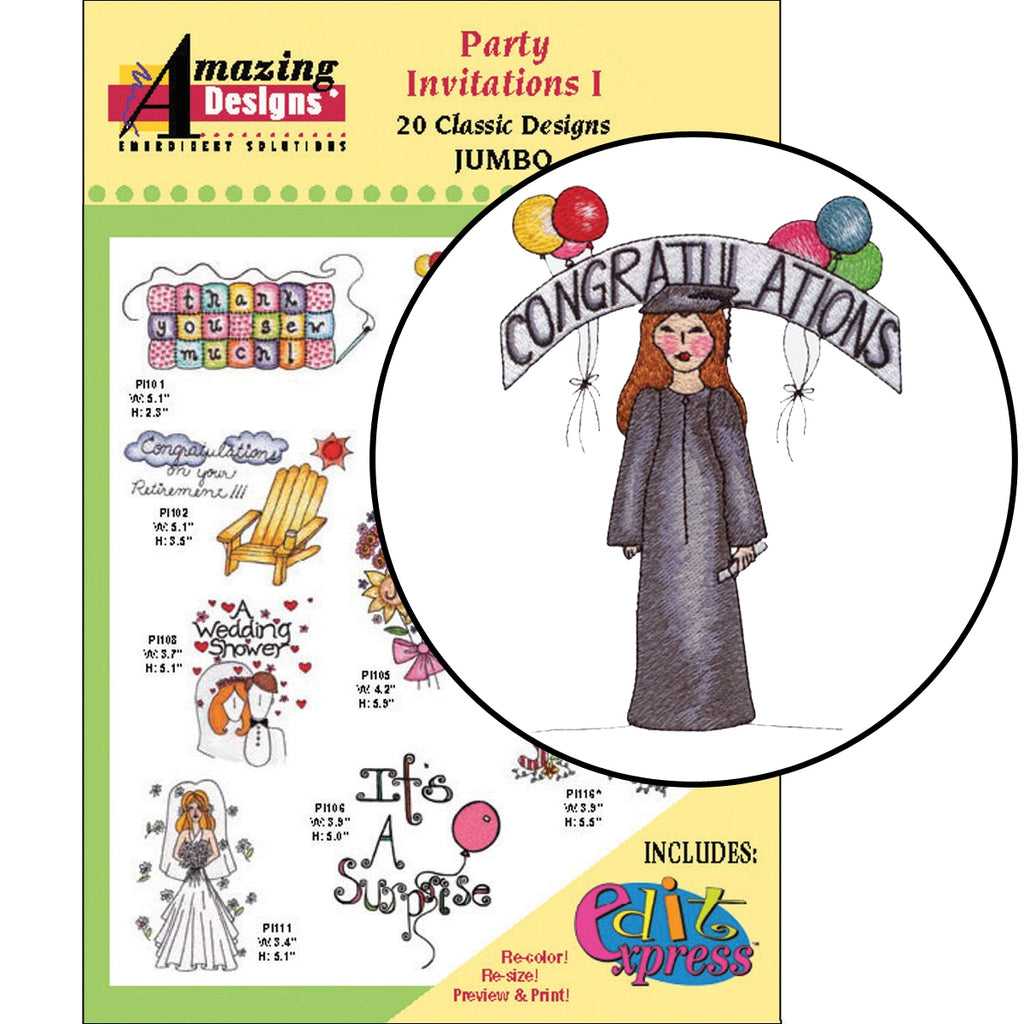 Party Invitations I Embroidery Designs CD