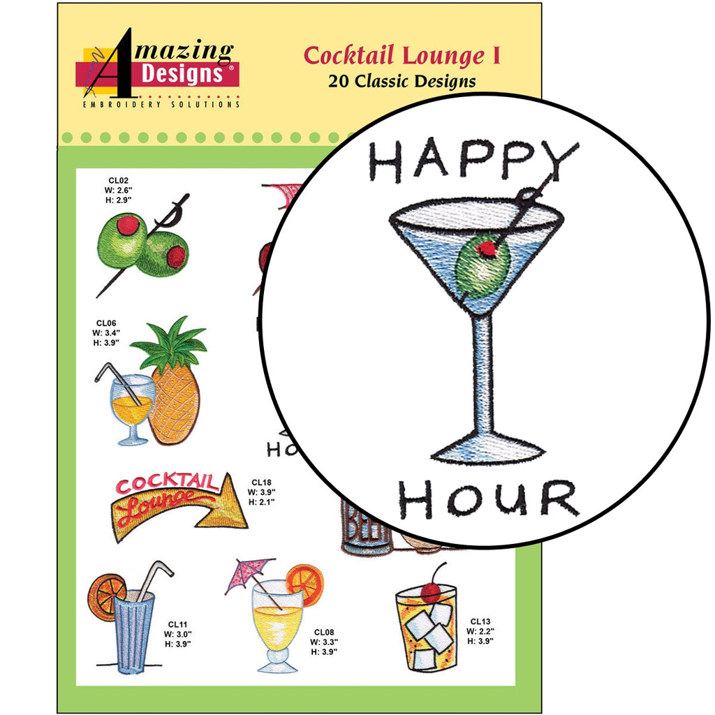 Cocktail Lounge I Embroidery Designs CD