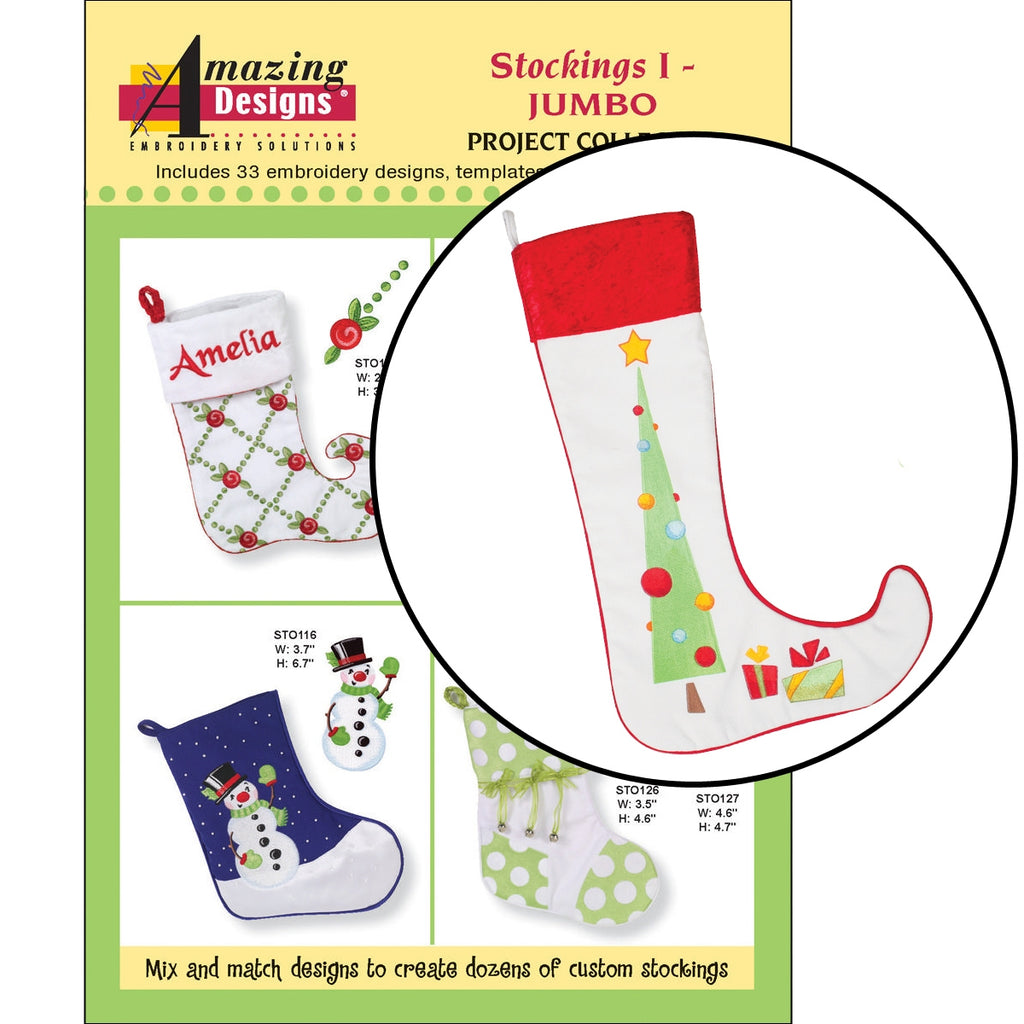 Jumbo Stockings Embroidery Designs CD