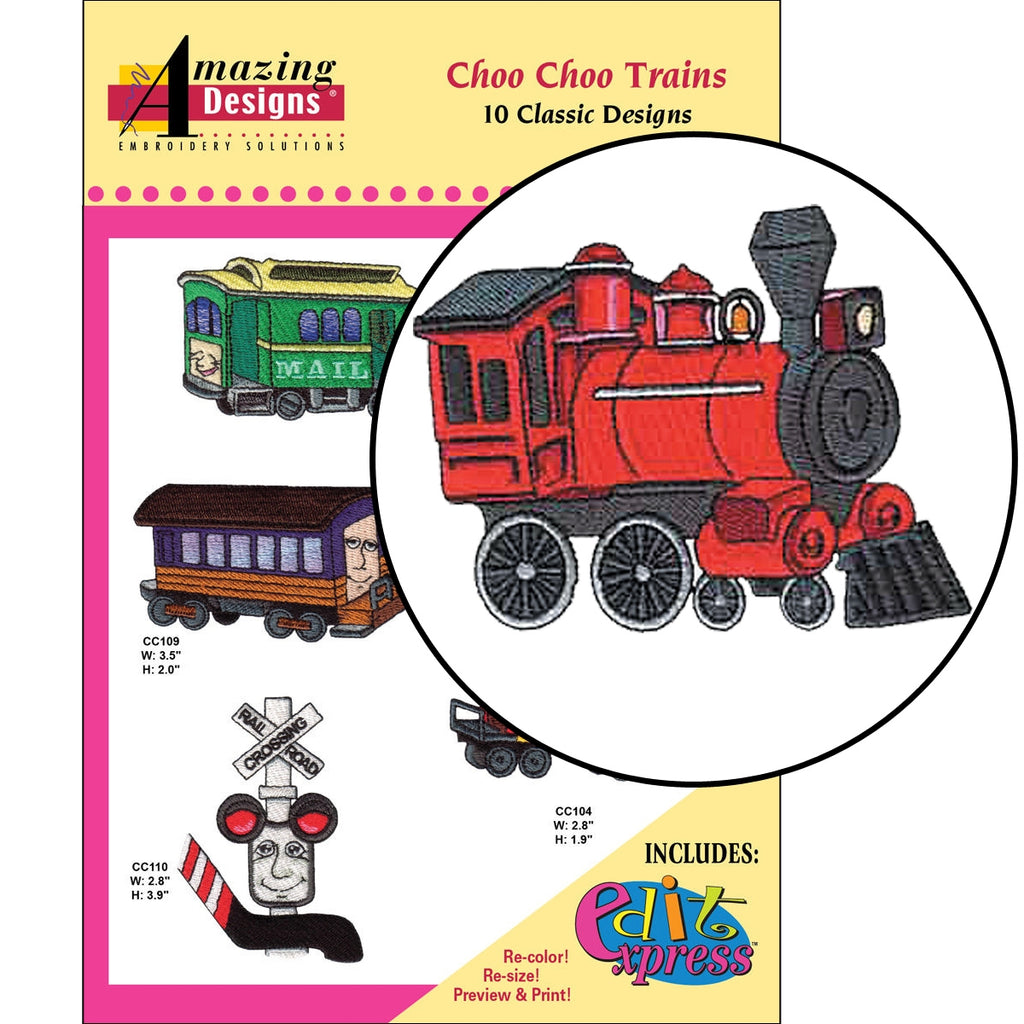 Choo Choo Trains Embroidery Designs CD