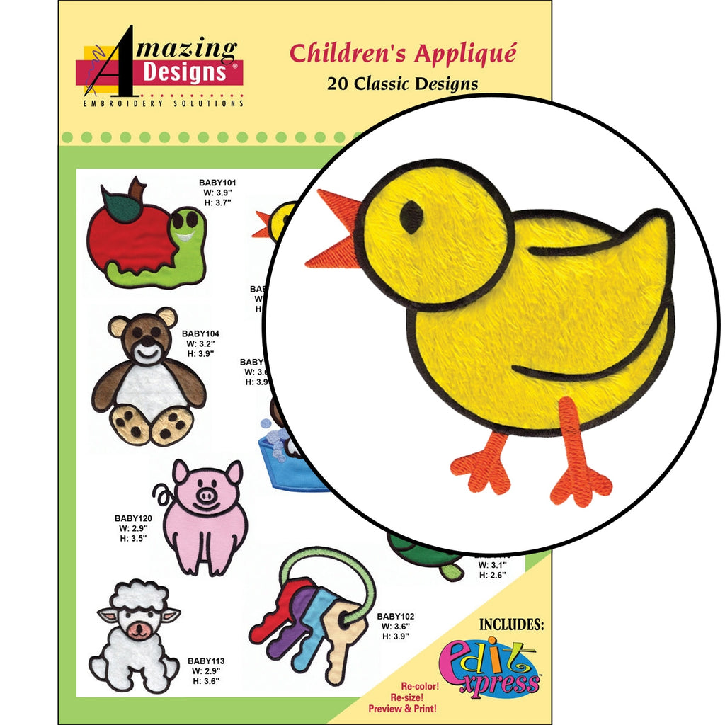 Children's Applique Embroidery Designs CD
